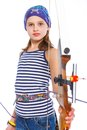 Teenage Girl Doing Archery Royalty Free Stock Photos