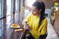 Teenage girl enjoying her coffee break Royalty Free Stock Photo