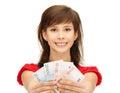 Teenage girl with euro cash money
