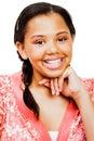 Teenage Girl With Hand On Chin Stock Photo