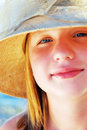 Teenage girl in a hat Royalty Free Stock Photos