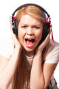 Teenage girl in headphones Stock Photography