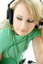 Teenage girl in headphones Stock Photos