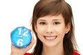 Teenage girl holding alarm clock Royalty Free Stock Photo