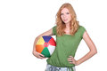 Teenage girl holding ball beach Royalty Free Stock Photography