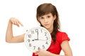 Teenage girl holding big clock Royalty Free Stock Photo