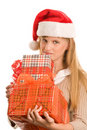 Teenage girl holding gifts Royalty Free Stock Photo