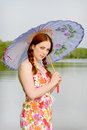 Teenage Girl Holding Parasol Royalty Free Stock Images