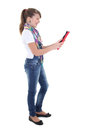 Teenage girl holding tablet pc Royalty Free Stock Photography