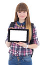 Teenage girl holding tablet pc with copyspace isolated on white background Stock Photography