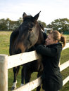 Teenage girl with a horse in a field Royalty Free Stock Images