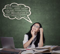 Teenage girl learning foreign languages Royalty Free Stock Photo