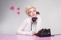 Teenage girl in love speaking with her boyfriend on the phone Royalty Free Stock Image