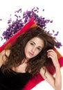 Teenage girl lying on floor Royalty Free Stock Photo