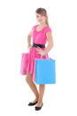 Teenage girl in pink dress after shopping over white Royalty Free Stock Image