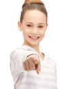 Teenage girl pointing her finger Royalty Free Stock Photo