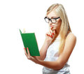 Teenage girl reading book Royalty Free Stock Photo