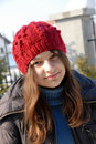 Teenage girl in red cap portrait Royalty Free Stock Images