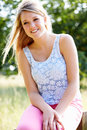 Teenage Girl Relaxing On Cycle Ride In Countryside Royalty Free Stock Photo