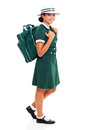 Teenage girl school happy carrying bag going to Stock Images