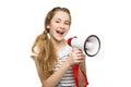 Teenage girl screaming in megaphone