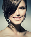 Teenage girl with short hair stylish fringe style Royalty Free Stock Images
