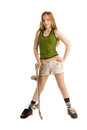 Teenage girl with a skateboard Stock Photography