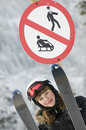 Teenage girl on ski Stock Photos