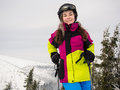 Teenage girl skiing winter sports Stock Images