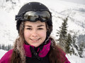 Teenage girl skiing winter sports Stock Photos