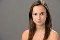 Teenage girl skin beauty portrait natural brunette