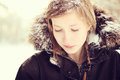 Teenage girl snow hair winter Stock Photo