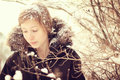 Teenage girl snow hair winter Royalty Free Stock Photography