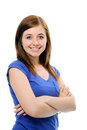 Teenage girl standing with crossed arms smiling Stock Photos