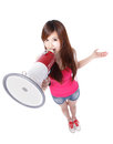 Teenage girl student shouting megaphone full length isolated white background high angle view asian beauty Stock Photos