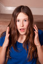 Teenage girl looking surprised Royalty Free Stock Photo