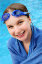 Teenage girl at swimming pool Royalty Free Stock Photo