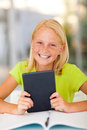 Teenage girl tablet happy holding computer at home Royalty Free Stock Photos