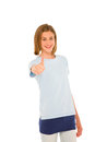 Teenage girl with thumb up Stock Photo