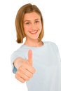 Teenage girl with thumb up Royalty Free Stock Images