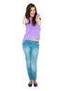 Teenage girl with thumbs up Royalty Free Stock Images