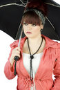 Teenage girl with umbrella Stock Photos