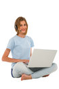 Teenage girl using laptop Royalty Free Stock Image