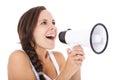Teenage girl using megaphone