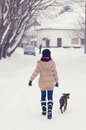 Teenage girl walking her dog in winter on snowy day Royalty Free Stock Image