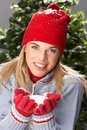 Teenage Girl Wearing Knitwear In Studio Royalty Free Stock Photo
