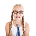 Teenage girl wearing a school uniform and glasses. Smiling face, braces on your teeth. Royalty Free Stock Photo
