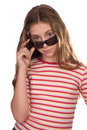 Teenage girl wearing sunglasses isolated on white Royalty Free Stock Photos