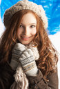 Teenage Girl Wearing Warm Winter Clothes Stock Photography