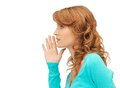 Teenage girl whispering gossip